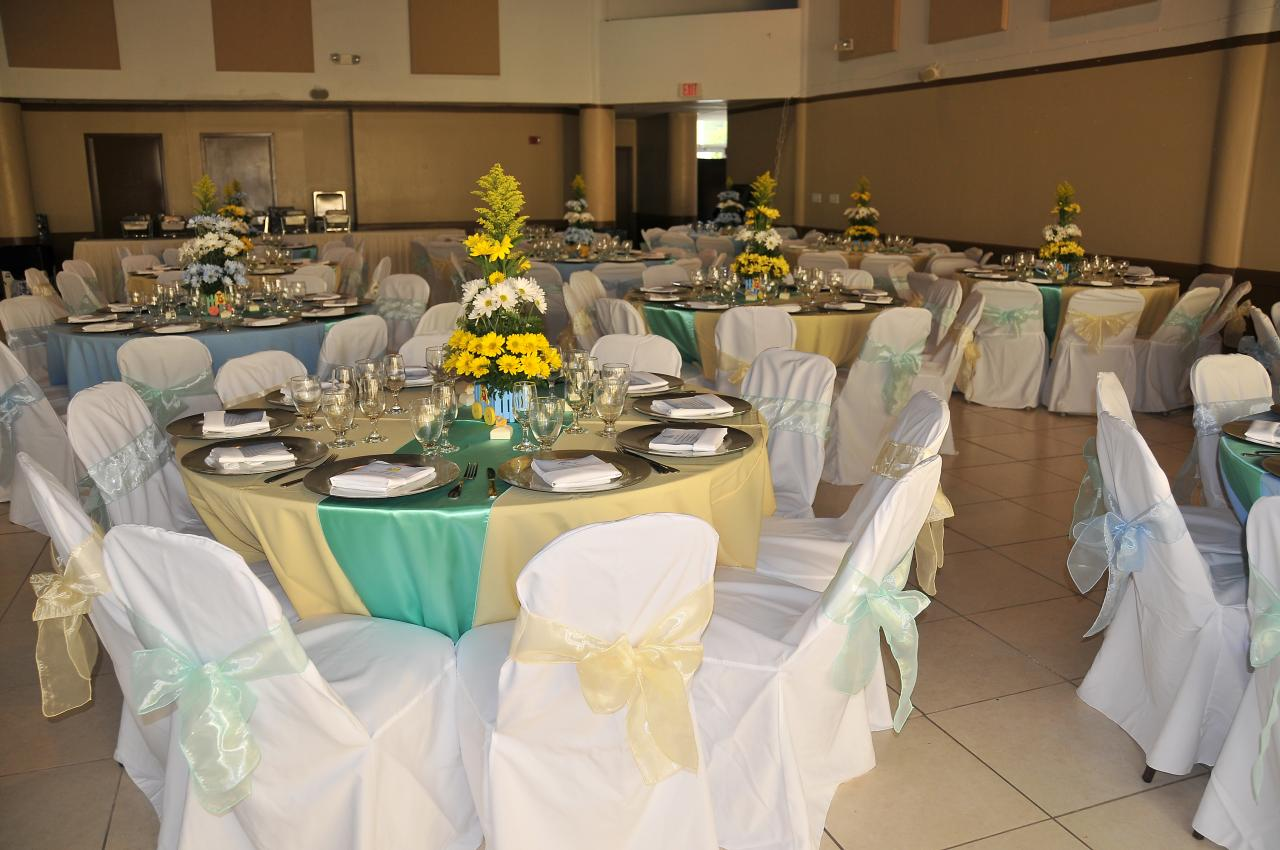 boy baby shower party rental miami tables chairs yellow tablecloth daisies